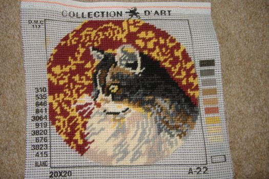Tapestry Picture - Circular Tabby Cat