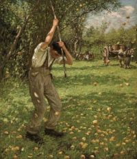 Henry Herbert La Thangue, R.A.--Shaking Down Cider Apples, ca. 1909