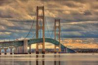 Mackinac Bridge Over Lake Michigan
