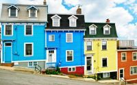 Colorful Houses Going Down To The Docks, St-Johns -- Newfoundland, Canada...