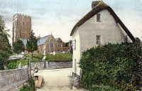 Woodbury Church, Devon, hand tinted postcard 1908