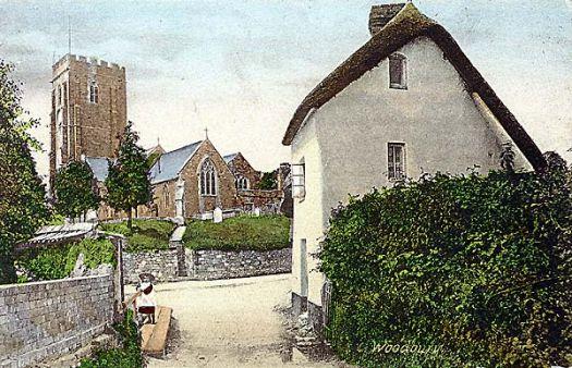 Woodbury Church, Devon, hand tinted postcard 1908