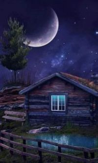 Rustic Cabin in the Moonlight