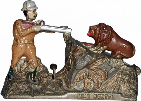 Lion Hunter Mechanical Bank