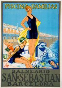 Themes Vintage Travel Poster - San Sebastian Barcelona