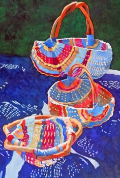 baskets on blue