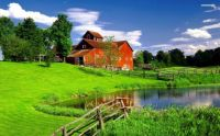 Red barn, green fields