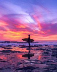 Surfer on Australian beach