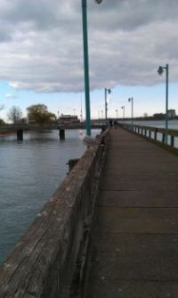 Belle Isle boardwalk on a cloudy, brisk day