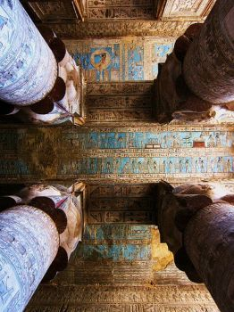 Painting on templeceiling in Egypt...