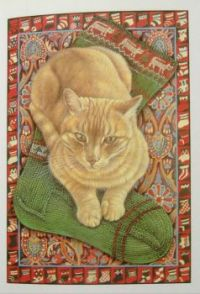 Art - Book - Lesley Anne Ivory Christmas Cats - Spiro's Christmas Stocking