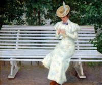 "Paul Gustav Fischer, ""Lady on a Bench"""