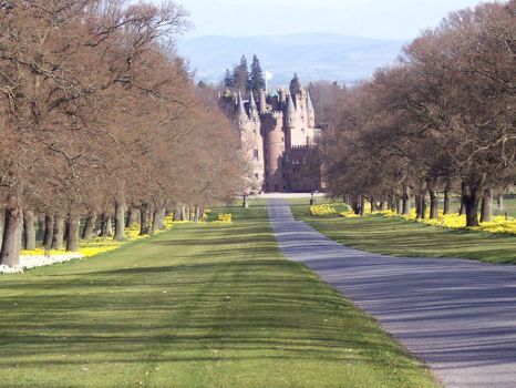 The approach to Glamis Castle, Scotland.  Photo by Miss Steel