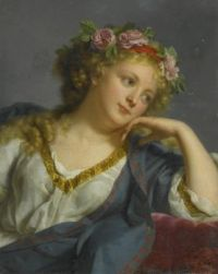 Portrait of a Lady wearing a Floral Wreath