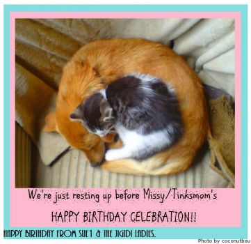 HAPPY BIRTHDAY to my good friend Missy/Tinksmom.  Hope it's a great one and a good year ahead.  HUGS!!