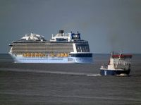 Anthem of the Seas and Norbay near the Mersey Bar, off Liverpool