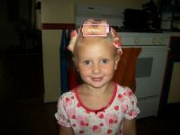 Gracie in her curlers