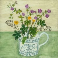 Forget me not and wild flowers cup