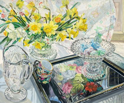 Black Tray and Daffodils