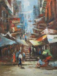 Mid-century chinatown painting by David Paul Chun