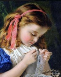 Little Girl Crocheting
