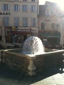 Fountain, Beaune in early morning light