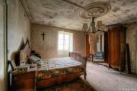 Bedroom in an abandoned house