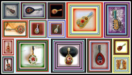 Theme - Music Mini Mosaics Musical Instruments Brooches