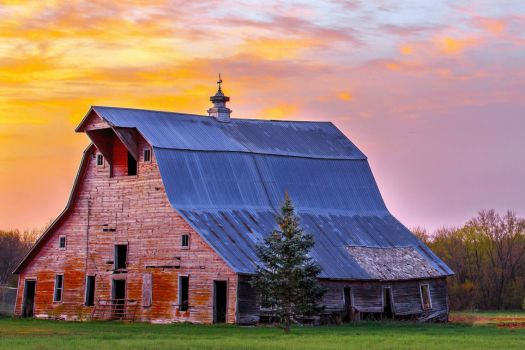 Sunset on a Big Red Barn....