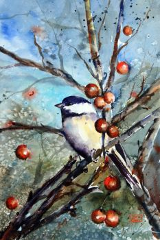 Chickadee and Berries