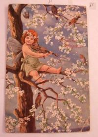 Victorian postcard   Fairy playing violin