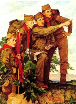 Boy Scout Compass Training by Norman Rockwell