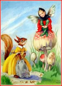 Toadstool Fairy and Squirrel