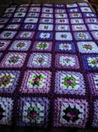 """purple"" granny square afghan"