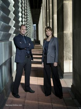 Chris Meloni and Mariska Hargitay in a promo shoot for season 8 of Law and Order: SVU.