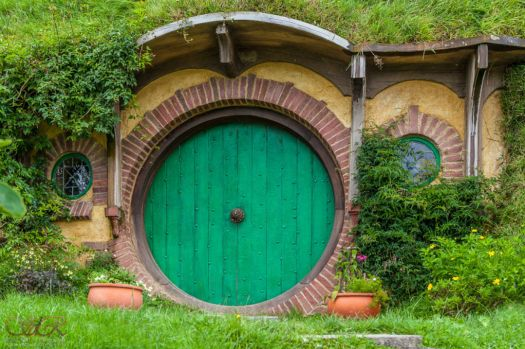 Hobbiton front door in New Zealand