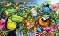 Colourful Tropical Flowers and Birds