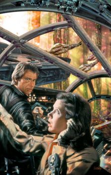 Han and Leia in the cockpit