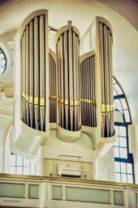 the Freiburger organ, one of the five organs, in St. Michael's Church in Hamburg, Germany