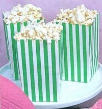 Green / Green Striped Bags of Popcorn