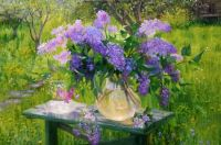 Lilacs on a bench