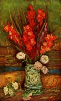 Still Life - Vase with Red Gladiolas_Van Gogh, 1886