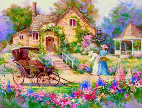 Beautiful flowers and cottage!