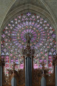 The northern rose window and main organ of the cathedral Saint-Gatien in Tours, France.