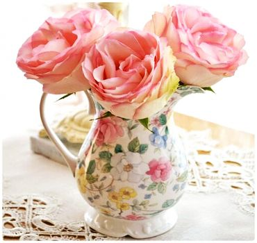 Pink Roses in a China Pitcher