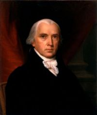 James Madison, 4th President of the United States, 1809-1817.Portrait by John Vanderlyn in 1816.