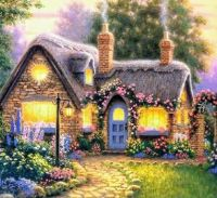 Cute cottage with blue door