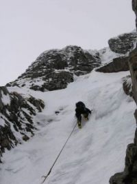 Bottom pitch of 'Centre Post' on Creag Meagaidh. UK