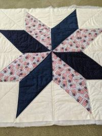 red,white, blue quilt