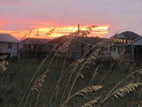 beach houses sunset